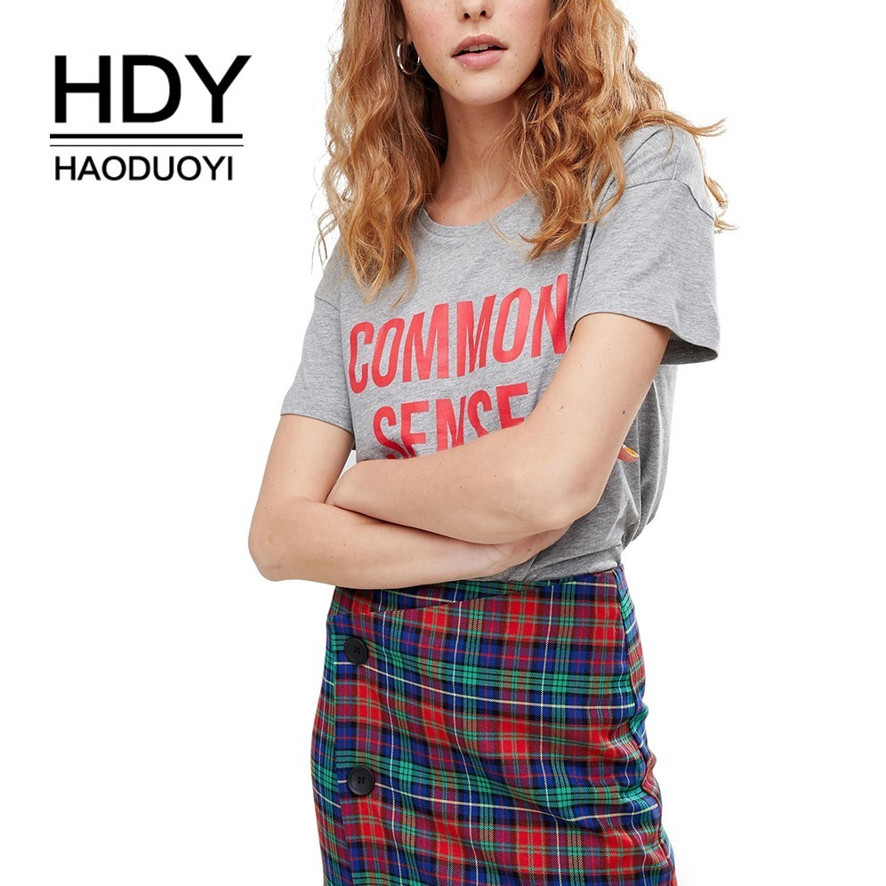 HDY Haoduoyi 2019 New Summer Women T-shirt Simple Commuter Letter Print Drop Shoulder