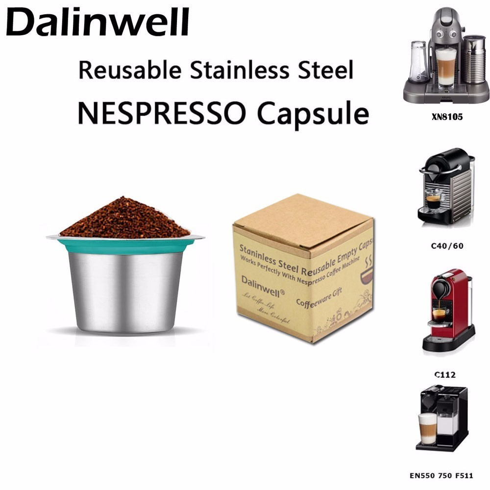 2PCS/Box Refill Nespresso Coffee Capsulas Stainless Steel Refillable Nespress Coffee Capsule Reusable Italian Coffee Filters Cup
