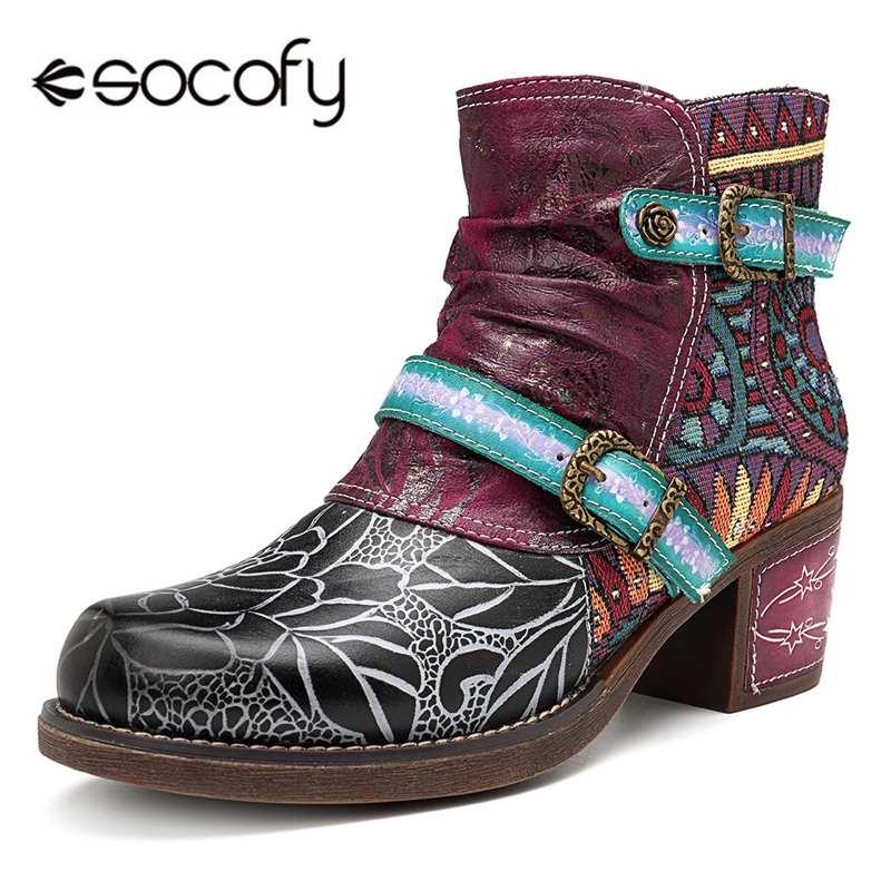 Ayakk.'ten Ayak Bileği Çizmeler'de Socofy baskılı hakiki deri ekleme yarım çizmeler kadınlar için ayakkabı kadın sonbahar kış çizmeler kadın blok topuklu patik Botas'da  Grup 1