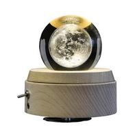 AUGKUN Moon Crystal Ball Wooden Luminous Music Box Music Box Rotary Home DecorationInnovative Birthday Gift