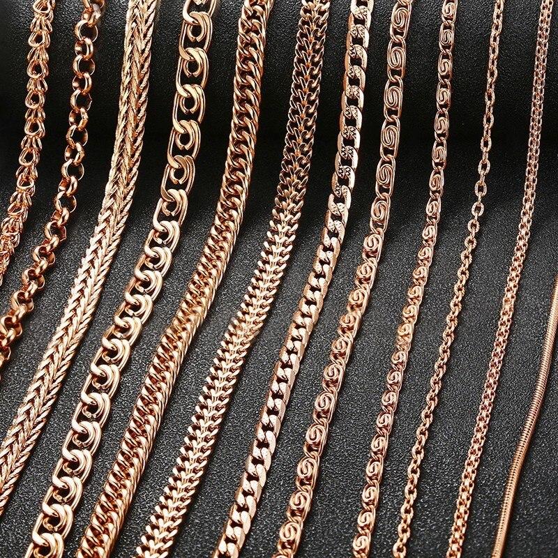 Vnox мм 2-8 мм нержавеющая сталь Улитка бордюр Belcher Rolo змея цепь ожерелье для женщин мужчин 585 розовое золото колье 20