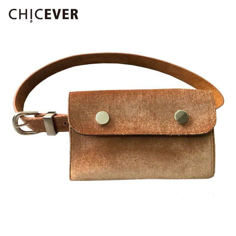CHICEVER Velvet High Quality Female Metal Belts For Women With Bag Black Fashion Korean Belts New 2020