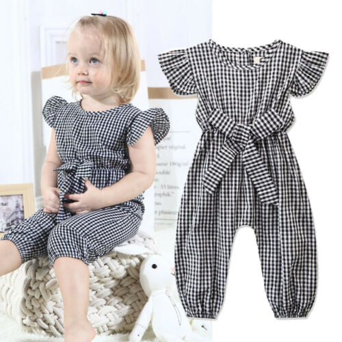 2019 Baby Girl summer clothing Casual red black plaid Playsuit Jumpsuit romper Outfit   for Kid clothes toddler Children newborn