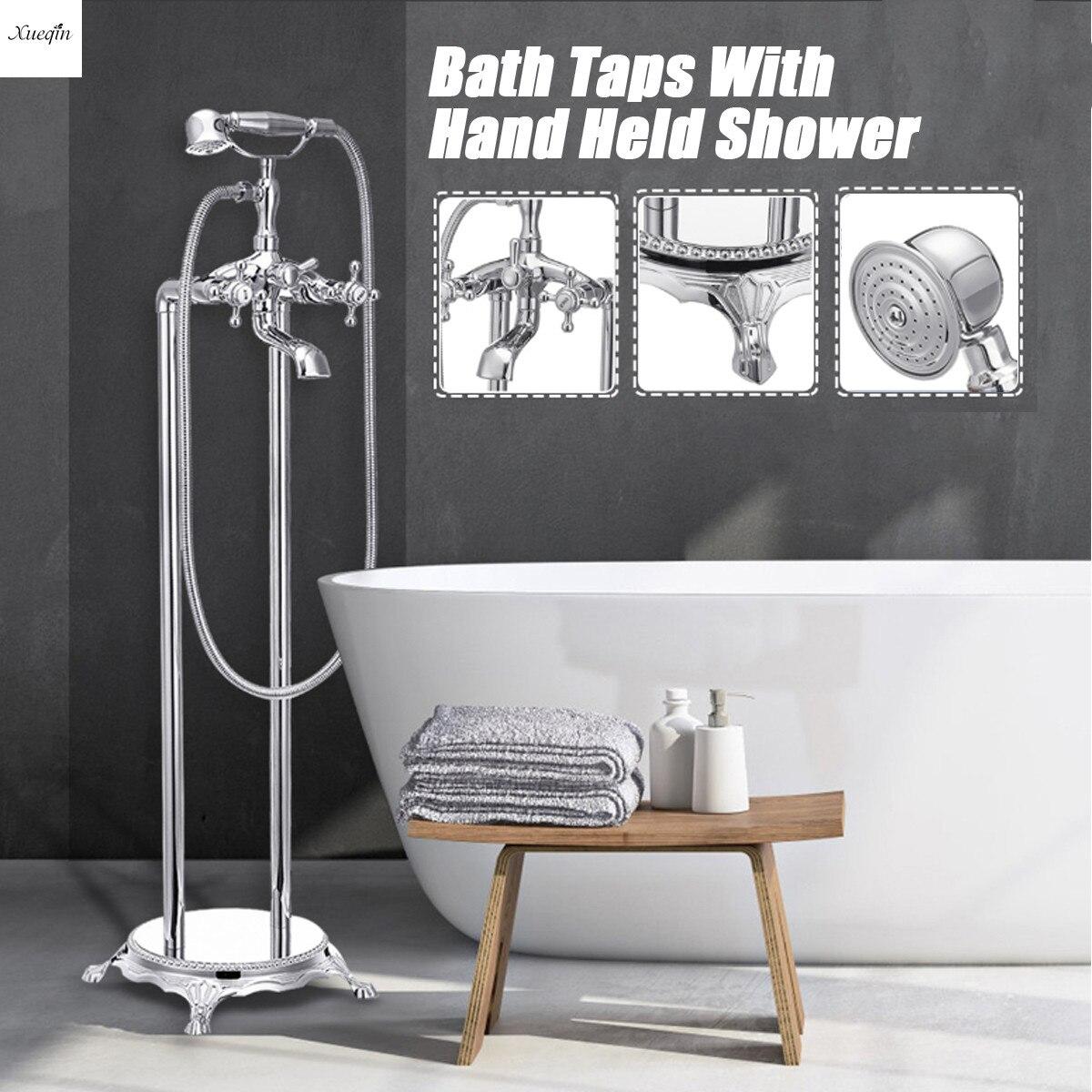 Хром Латунь Напольный Торшер установлен Ванна на ножках лапах душ смеситель для раковины роскошный набор для ванной, с двумя кранами компле
