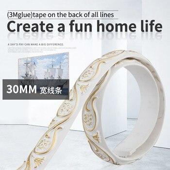 European PU plaster 4cm line TV background wall border shape PVC soft decorative living room