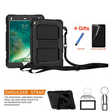 For Apple New iPad 9.7 2017 2018 6th generation tablet A1893 Silicone+PC Hybrid Built- in kickstand Shockproof Cover+Neck strap for apple new ipad 9 7 inch 2017 2018 case hybrid front back 360 full protection cover shockproof 3 layers built in kickstand