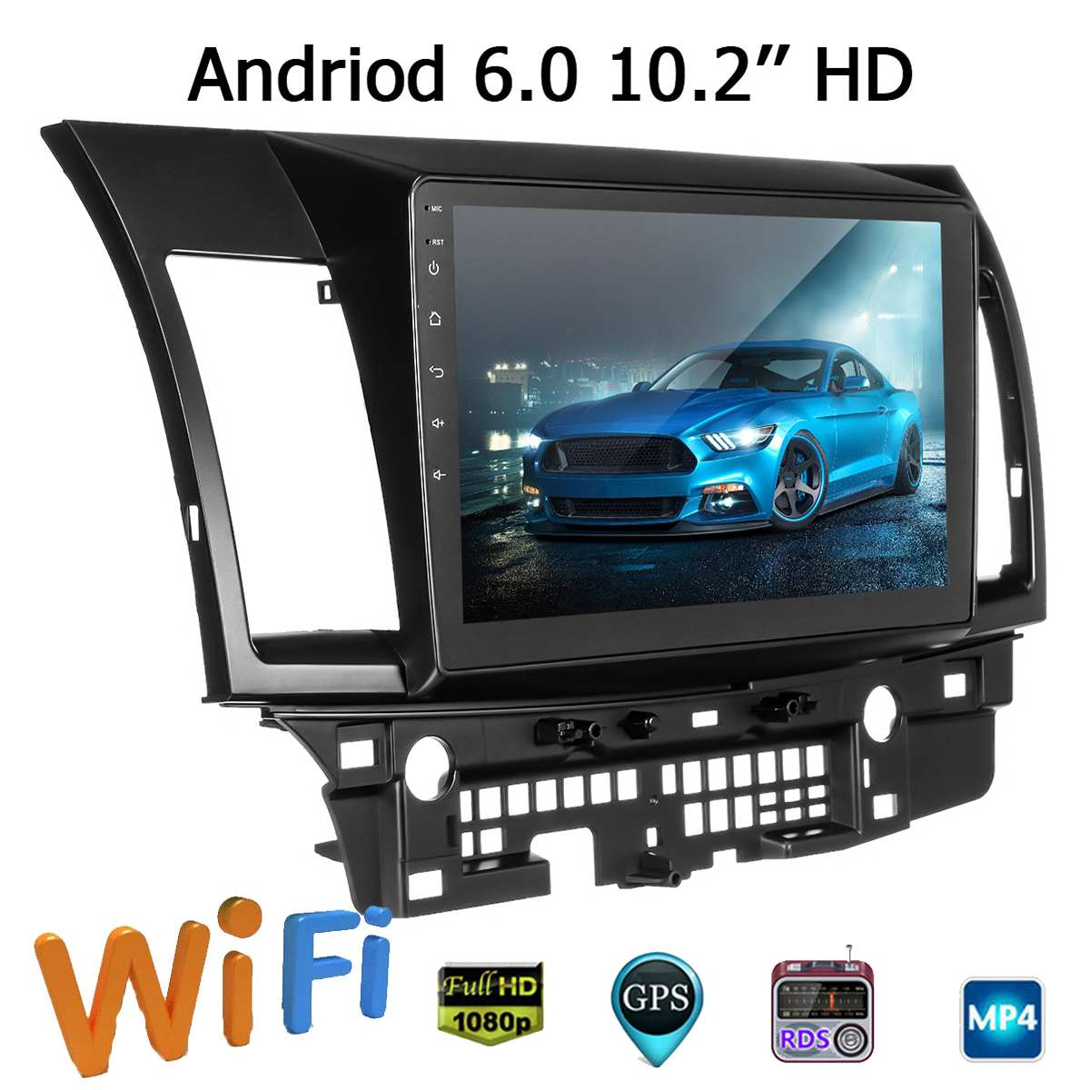 10.2 Inch Two-strand for Android 6.0 Car Media Player Car GPS MP5 MP3 Stereo Navigation Radio Player For Mitsubishi for Lancer