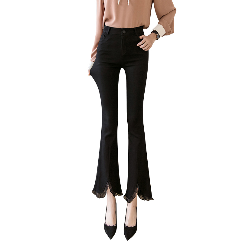 Women Flare   Pants     Capri   Summer 2019 Lady Casual High Waist Split Black Slim Skinny Pantalon Femme