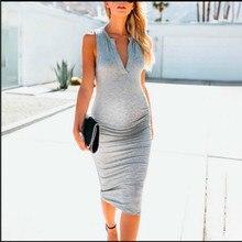 Women's fashion maternity dress pregnant women dress casual simple sleeveless pregnant women comfortable deep V-neck dress