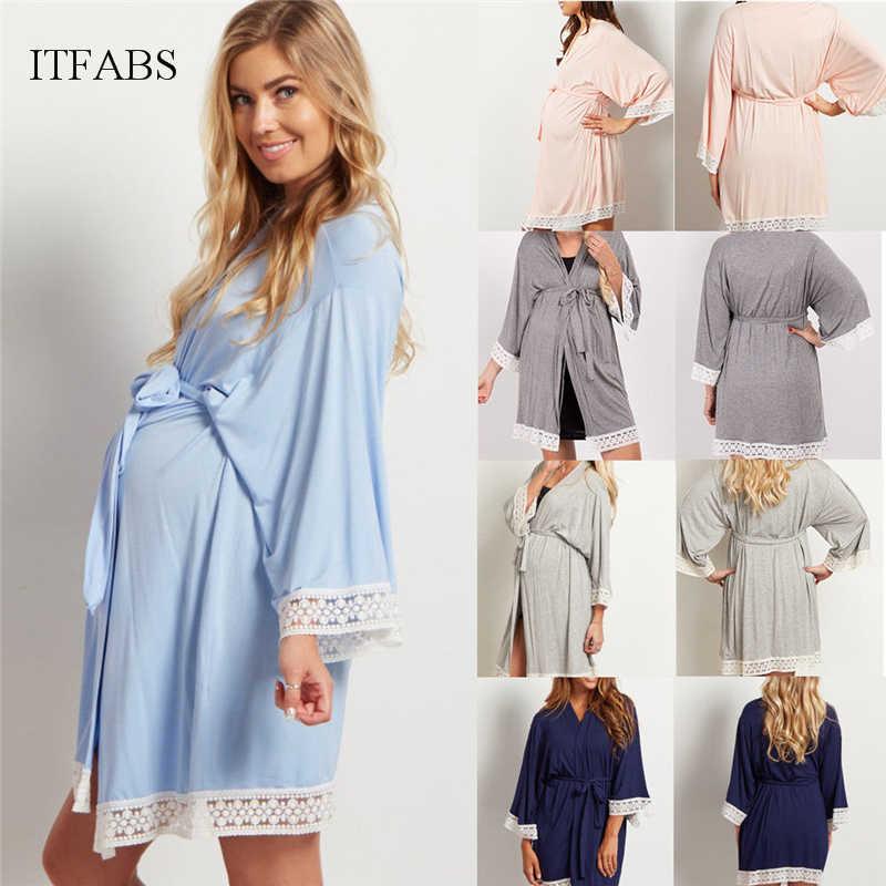 Maternity Nightdress Women Lace Solid Cotton Nursing Sleepwear Nightgown  Long Sleeve Soft Homewear T-shirt 16683171c