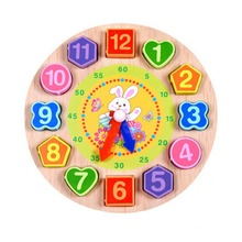 New Arrival Wooden Blocks Cartoon 3D Digital Geometry Clock Block Toys For Children Educational Toy