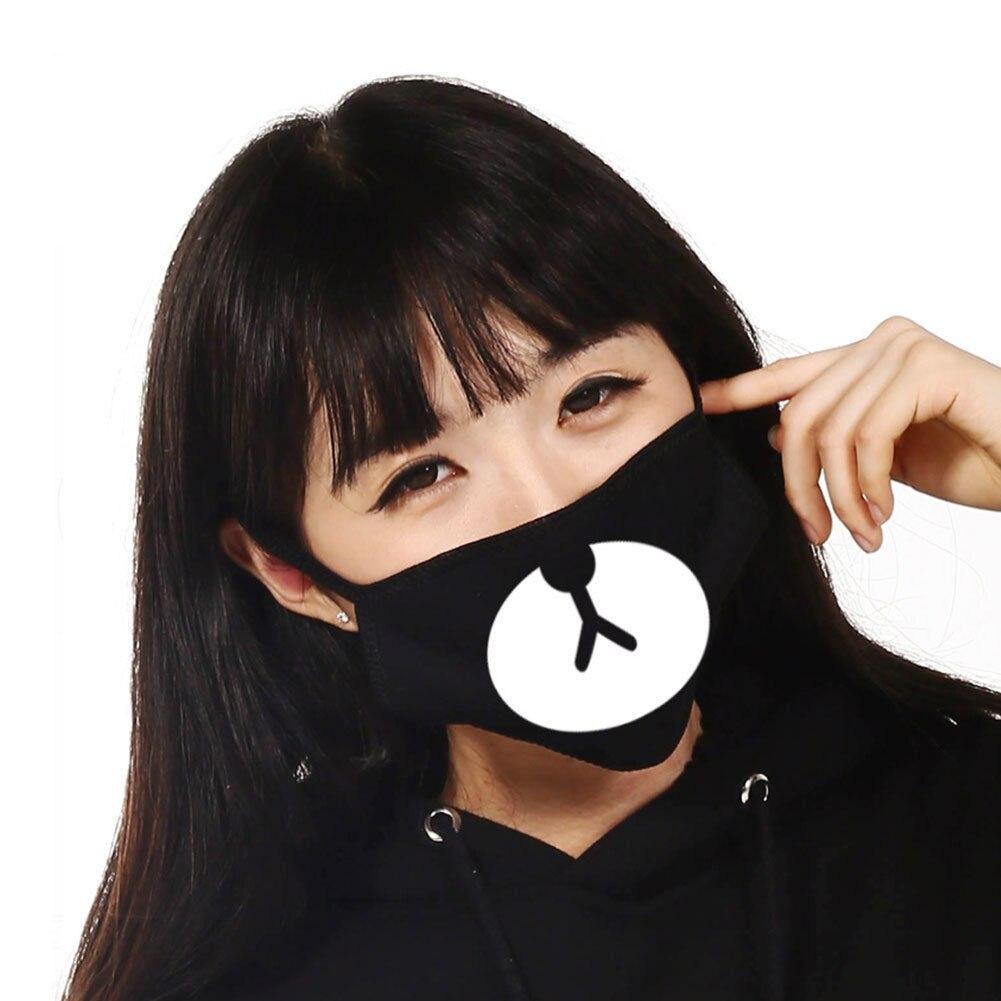 Mode Unisex Anti-staub Baumwolle Gesicht Bär Muster Maske Atmungsaktiv Wind Maske Halbe Gesicht Schwarz Gesundheit Pflege Bekleidung Zubehör Damen-accessoires