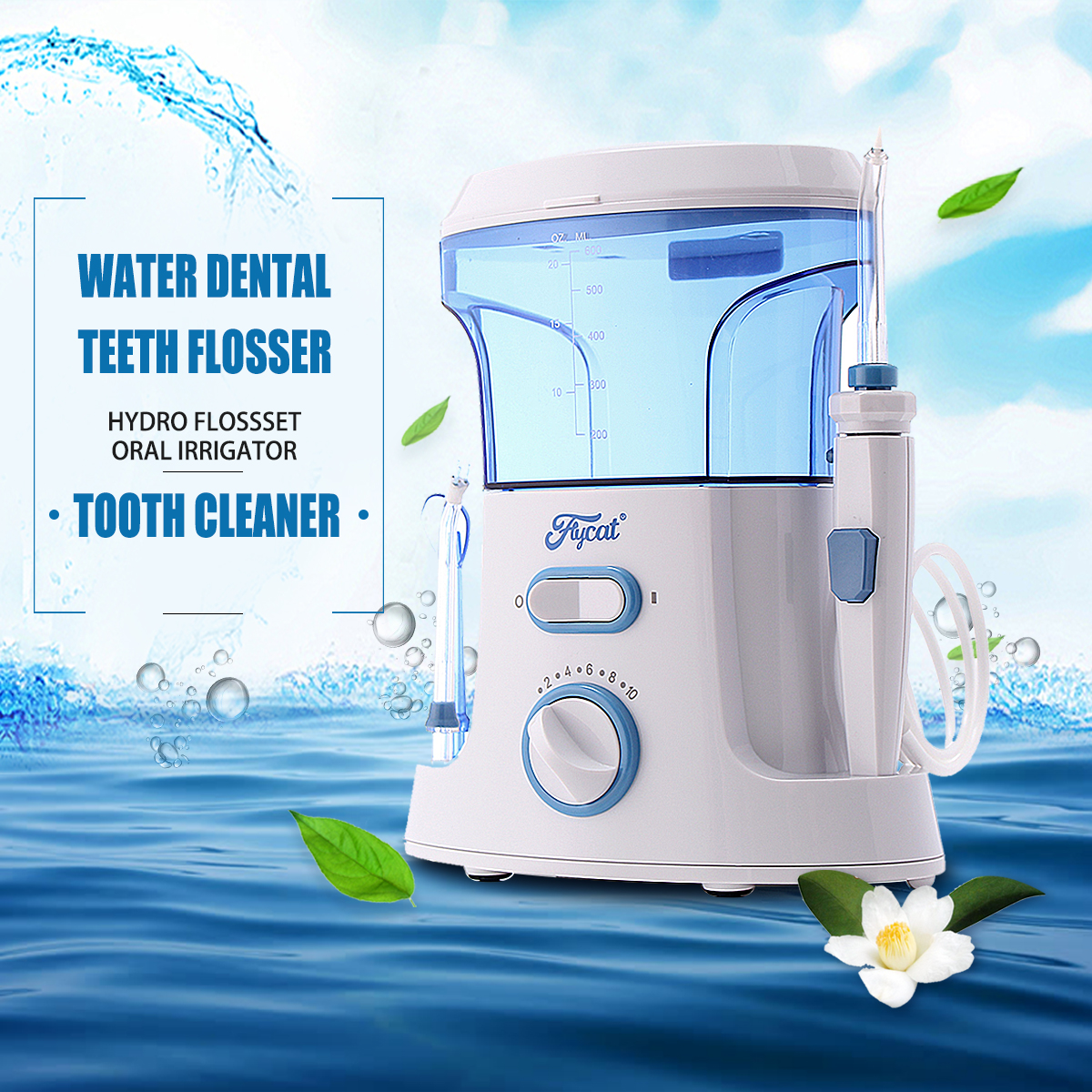 1Pcs Oral Irrigator Dental Flosser Water Dental Floss Water Irrigator Tooth Pick Dental Water Jet Oral Teeth Care 600ml 100pcs water flosser flycat fc168 oral irrigator 600ml tank 8pcs jet tips dental flosser power water jet protable oral deep