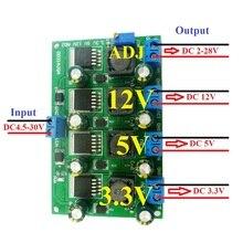 3A 4 قنوات متعددة تحويل التيار الكهربائي وحدة 3.3 فولت 5 فولت 12 فولت ADJ قابل للتعديل الناتج تيار مستمر تيار مستمر تنحى محول فرق الجهد مجلس