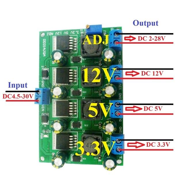 3A 4 채널 다중 스위칭 전원 공급 장치 모듈 3.3V 5V 12V ADJ 가변 출력 DC DC 스텝 다운 벅 컨버터 보드