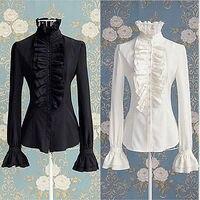 Викторианский для женщин OL офисные женские туфли рубашка Высокая средства ухода за кожей шеи оборками волнистые манжеты блузка