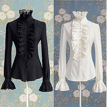 Victorian Womens Tops High Neck Ruffles Long Sleeve Frill Solid Color S