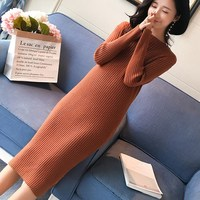 New Spring Autumn Slim Women Knitted Sweater Dress Fashion Pleat Mid Maternity Dress Long Sleeve Pregnant Clothes