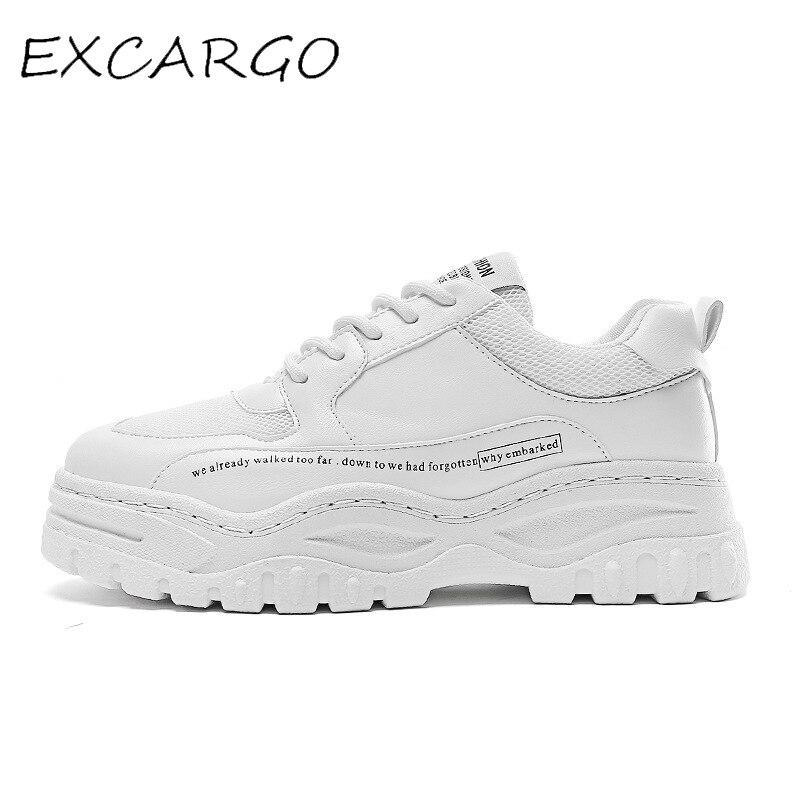 EXCARGO Sapatos Mens Tênis Branco Sapatos de Plataforma 2019 outono Nova quente Para Homens Chunky Tênis Confortável Respirável Preto