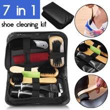 Zestaw do czyszczenia rurki do butów 7 w 1 neutralny lakier do butów plastikowa łyżka do butów owalny drewniany uchwyt szczotka do butów łatwe do przenoszenia zestaw tanie tanio Drewna shoe cleaning kit RUBBER other