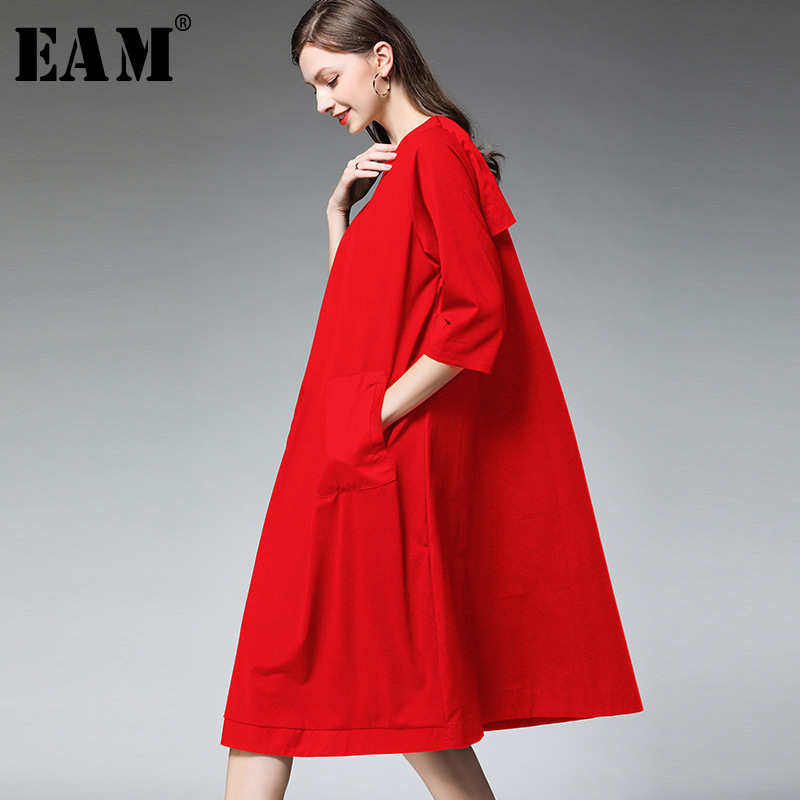 [EAM] 2020 New Spring Autumn Round Neck Long Sleeve Black Pocket Split Joint Loose Big Size Brief Dress Women Fashion Tide JS385