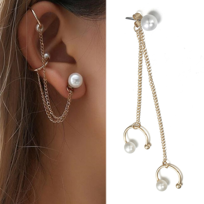 2019 New Arrival Graceful Golden Imitation Pearl New Fashion  1PC Wedding Punk Style Tassel Chain Beautiful Ear Cuff Clip