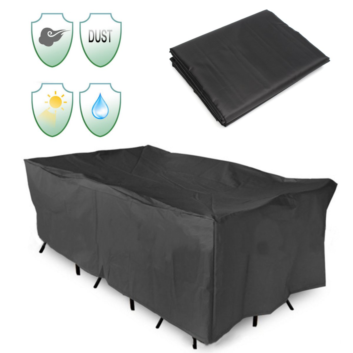 Outdoor Patio Table Cover All-Purpose Chair Set Furniture Cover Waterproof Garden Protective Dust Covers Canopy 3 Sizes Black