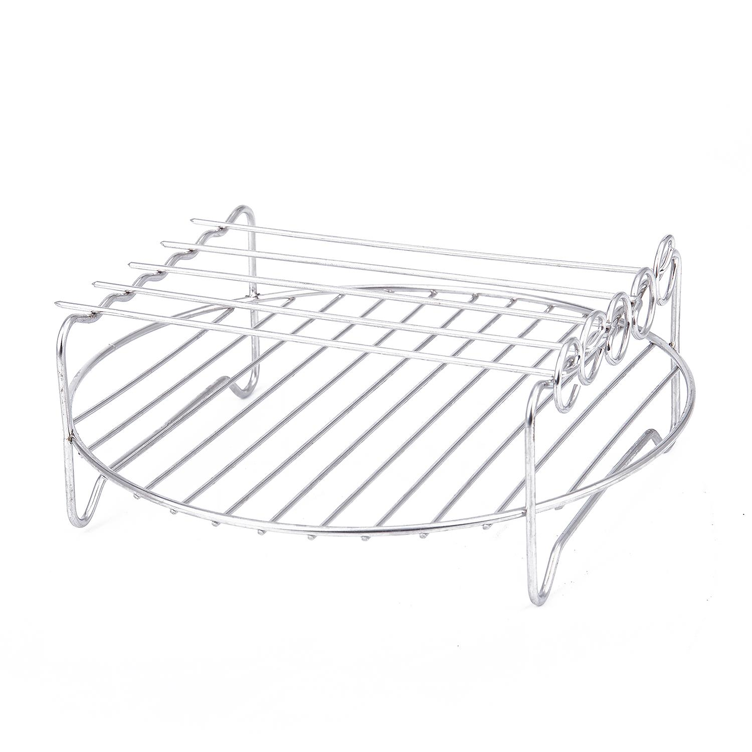 Double Layer Steamers Rack Accessory With 5 Skewers For Airfryers