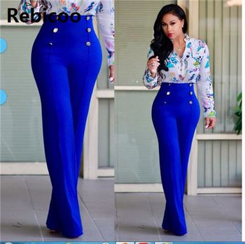 High Waist Flare Pants Plus Size Women Trousers Female Office Lady Casual Wide Leg Pants Stretch Long Pant women high waist pants plus size long trouser female casual loose denim blue black wide leg pant work trouses