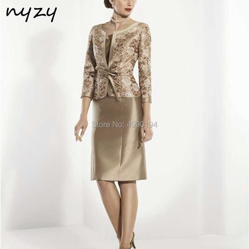 NYZY M125 Wedding Party Guest Wear Lace Bolero Outfits Vestido Madrinha Champagne 2 Piece Mother Of The Bride Groom Dresses 2019
