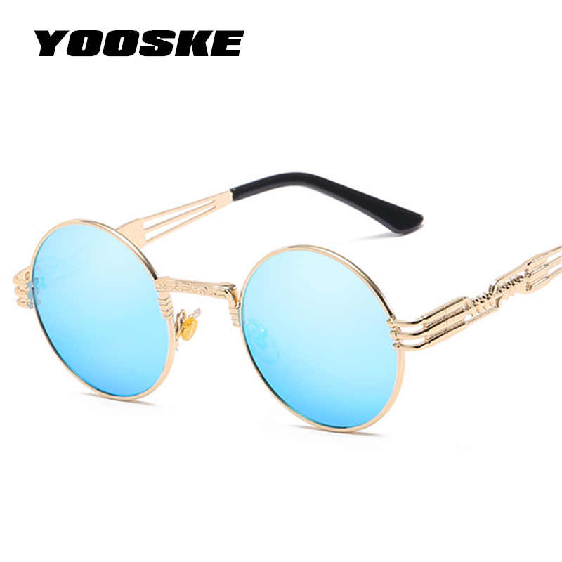 86c2f0a6def27 YOOSKE Gothic Steampunk Sunglasses Men Metal Wrap Round Eyeglasses Women  Brand Designer Shades Sun glasses High