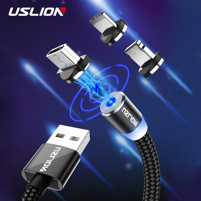 USLION 2M Fast Charging Magnetic Cable Micro USB Type C Charger For iPhone XS X XR 8 7 Samsung S10 9 Magnet Android Phone Cable