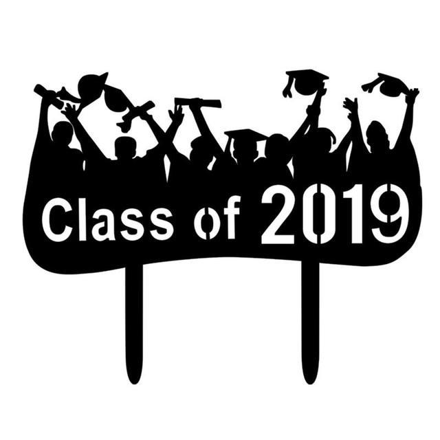 1pc Congrats Grad Cake Topper Black Class Of 2019 Acrylic Cake Picks
