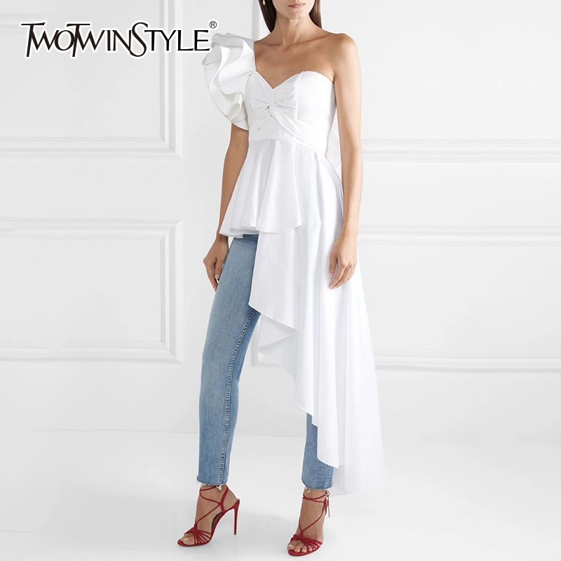 TWOTWINSTYLE Asymmetrical Shirt Tops Female Off Shoulder Lace Up Irregular Ruffle Sexy Blouse Women Fashion 2020 Autumn New