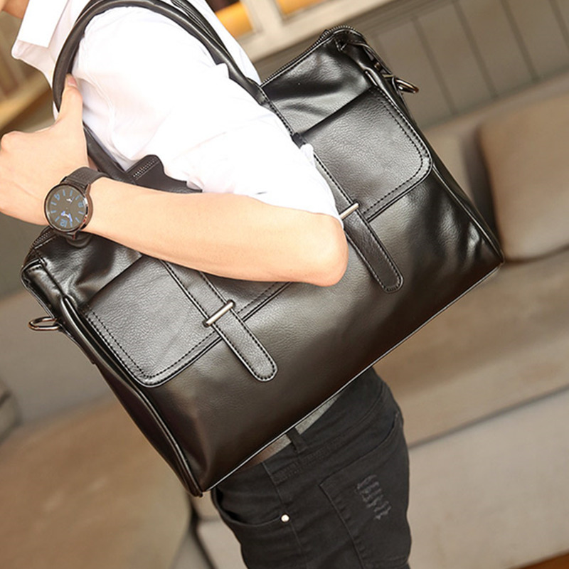 Fashion Men Briefcases Bags Male Business Laptops Bags Black PU Leather Messenger Bag For Man Briefcase Handbag Bolso Hombre Sac