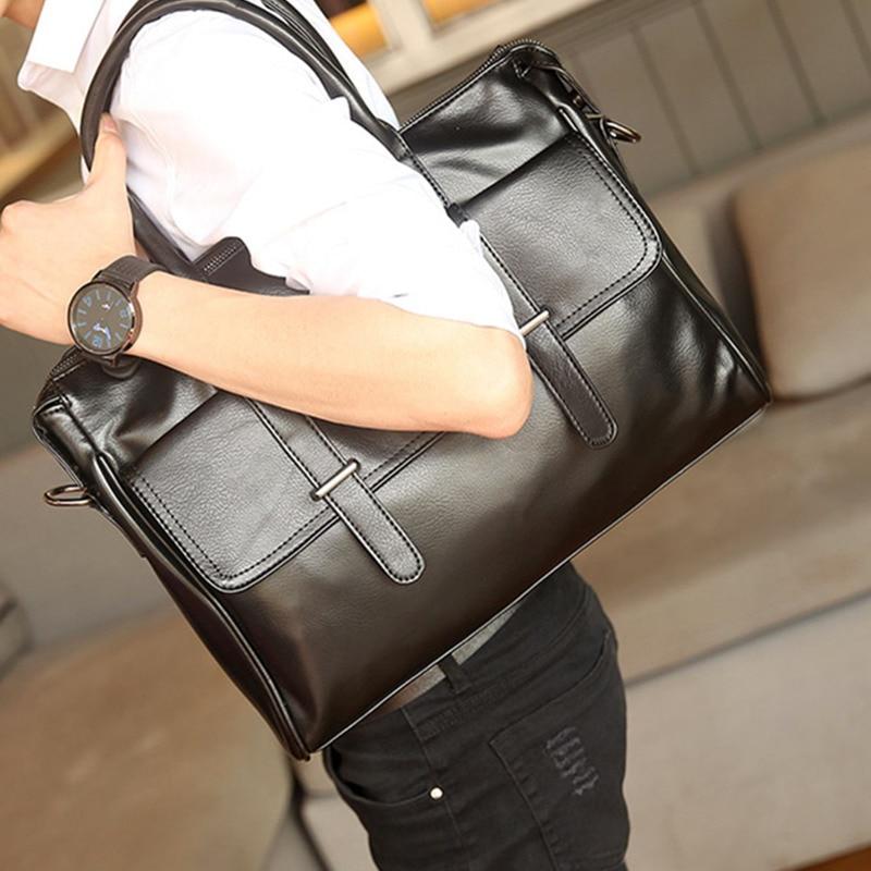 Fashion Men Briefcases Bags Male Business Laptops Bags Black PU Leather Messenger Bag For Man Briefcase Handbag Bolso Hombre Sac