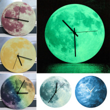 30cm Glowing Moon Wall Clock Pvc And Acrylic Luminous Hanging Light In The Dark Livingroom Bedroom Home Decor