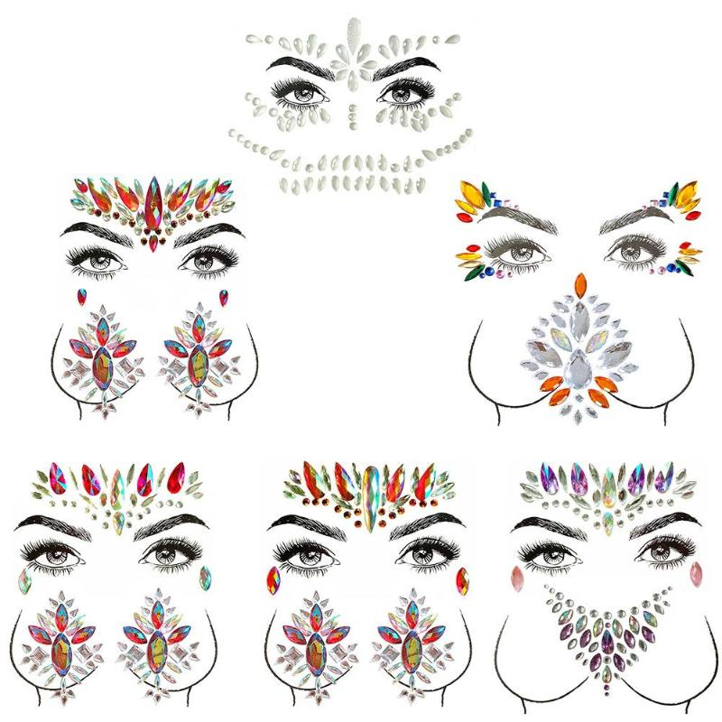 Adhesive Face Gems Rhinestone Temporary Tattoo Jewels Festival Party Body Glitter Stickers Makeup Tattoos