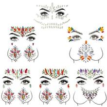 Adhesive Face Gems Rhinestone Temporary Tattoo Jewels Festival Party Body Glitter Stickers Makeup Temporary Tattoos Stickers все цены