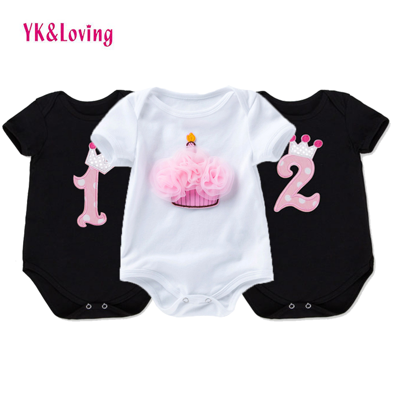 Baby Girls Cotton Rompers 1st Birthday Party Costumes Newborn Cotton Jumpsuit Infant Cartoon Appliques Pajamas Toddler Clothes