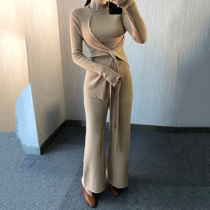 Pantalon Grey Tricoter cou En Manches eam O Pull Pièces camel À Jambe Longues Long Femme Unie Large Couleur 2 Li475 2019 Nouvelle Vrac Printemps Lacets Ensemble wxUSwACq