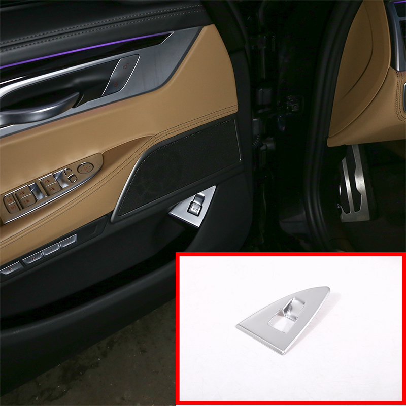 For BMW 7 Series G11 G12 730li 740li 750li 2016-2017 Car Accessories ABS Matte Chrome Interior Rear Tail Door Switch Cover Trim
