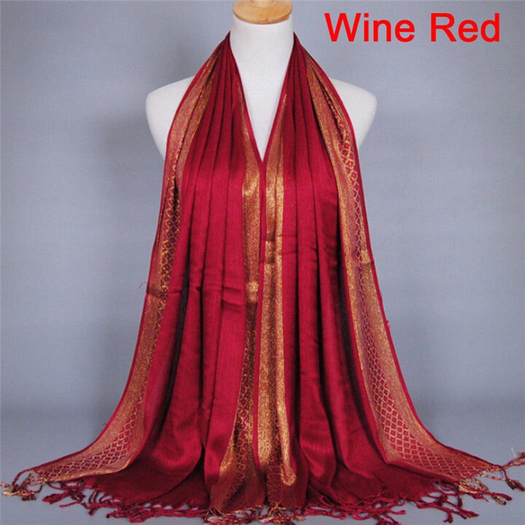 180*60Cm Fashion Plain Glitter   Scarves   Women Tassels Plaid Stripe Shawl   Scarf     Wraps   Long Retro Lady Pashmina Stole Hijab Muslim