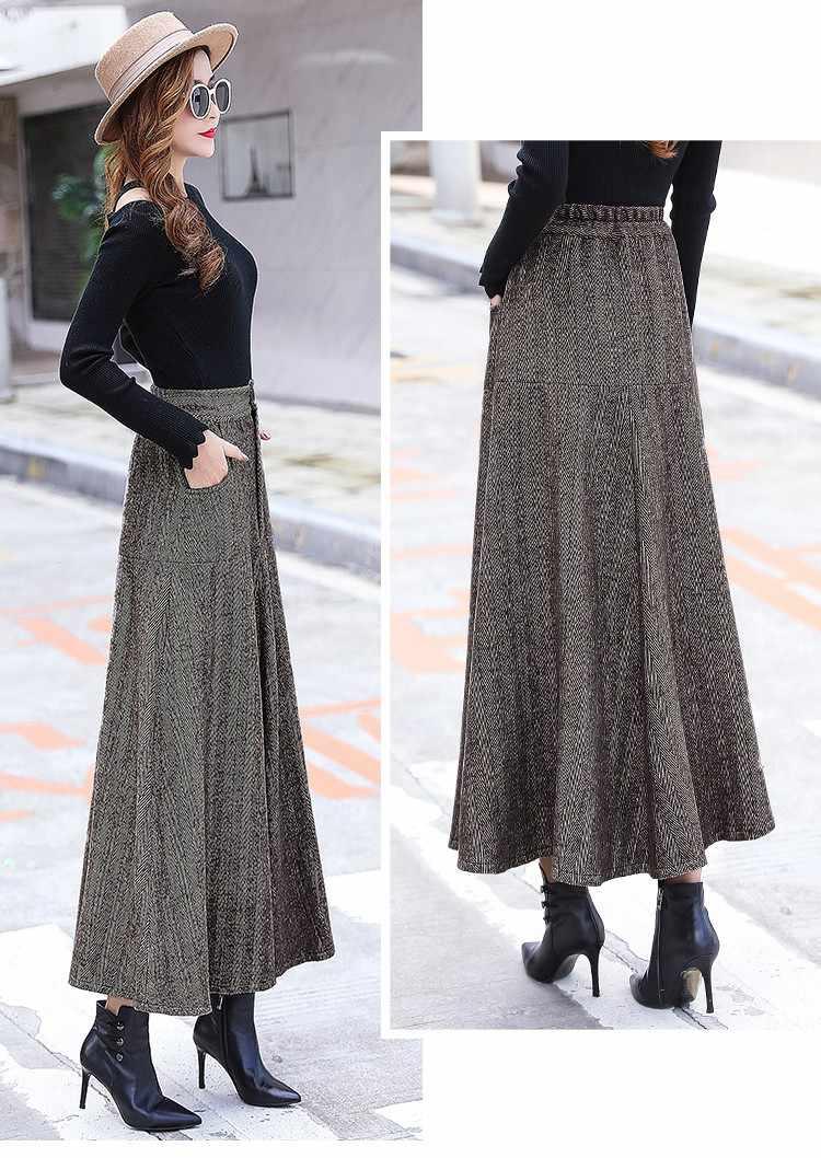 f6ec4e76f5 ... Vintage Wool Warm Maxi Skirt with Pockets Women Autumn Winter Elegant  Office Long Skirt High Waist