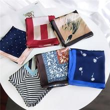 Женский квадратный шарф 70*70 см четыре сезона белый перо печати шифон шелковые шарфы офисные женские Ободки Бандана
