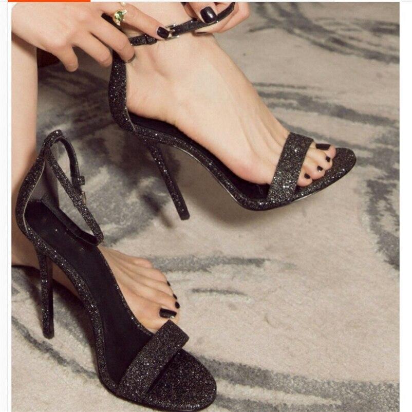 grey Es Rés silver 7 black Sandales Heel D'été Black Noir Chaussures Femmes forme Heel Bling 10 Heel De Talons Une 100mm Cm Hauts Plate Peep Gray Classique Toe Sangle Wedge qUtcwfFt