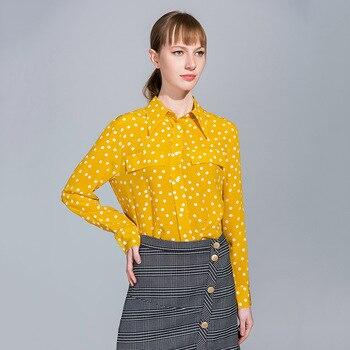 lemon polka dot  floral silk chiffon office blouse womens tops and blouses 2019 elegant sexy boho long sleeve plus size loose