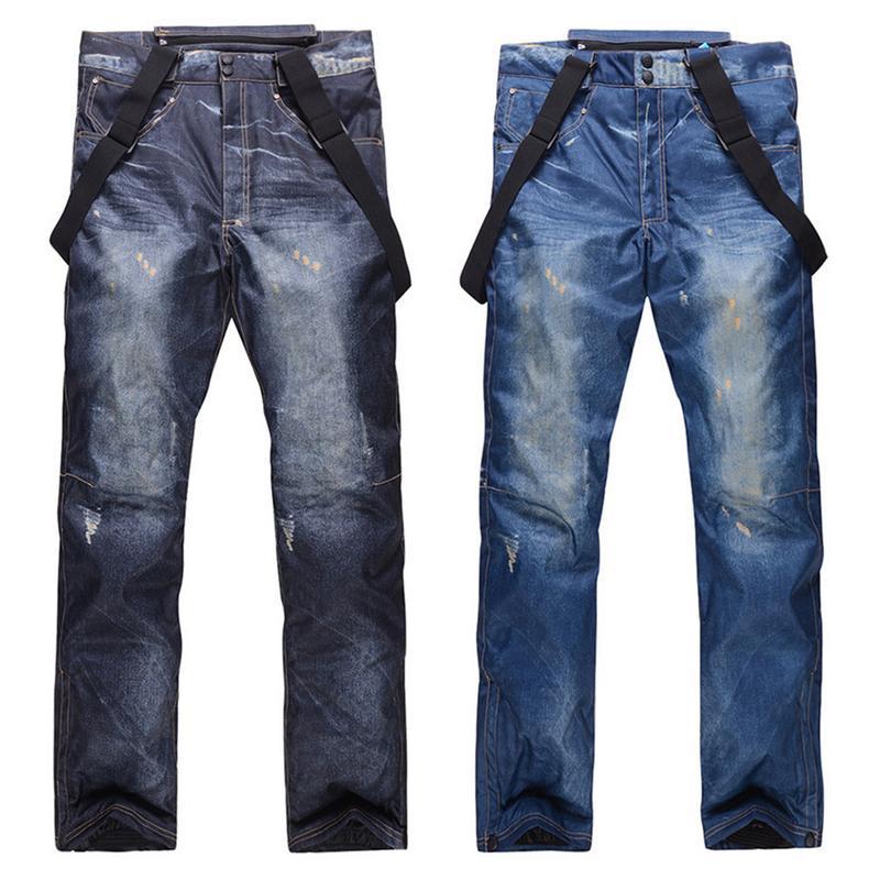 Hiver Denim Ski pantalon placage Double planche Snowboard Ski pantalon coupe-vent imperméable chaud épaissi pantalon pour hommes