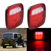 2pcs 1.5*5cm DC 12 V 1.8W 6000K 220LM Red White 16 LED Side Light Reverse Brake Tail Light for Jeep Truck Trailer