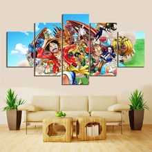 5 Piece Wall Art Anime Poster Picture One Monkey D. Luffy Painting for Home Modern Decor Canvas Wholesale